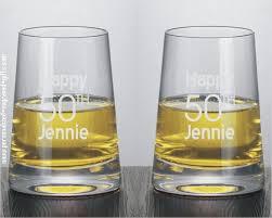 modernist stemless engraved white wine glasses