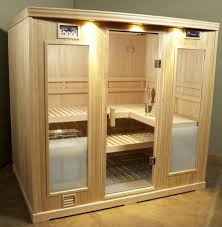 building a traditional sauna design in your home with glass door ideas