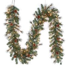 pre lit led artificial alexander pine garland with 165 tips and 100 warm white lights