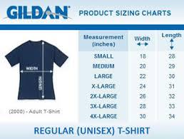 Gildan Shirt Size Chart Unisex