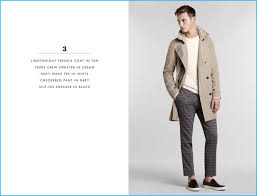 model kit butler dons a lightweight trench coat sweater soft wash tee