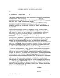 Letter Of Recommendation For A Business Template Letter Of Recommendation Template Free Download Create