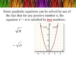 10 some quadratic equations can be solved by use of the fact that for any positive number n the equation x2 n is satisfied by two numbers