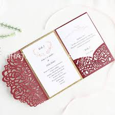 Sample Of Weeding Invitation Rose Wedding Invitation Card Pocket Laser Burgundy Invite With Glittery Insert Provide Customized Printing Print Invitations Sample Wedding Invitation