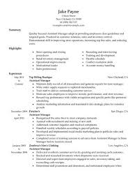 Gallery Of Assistant Manager Resume Example Retail Sample Resumes