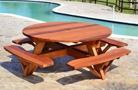 folding wooden picnic table round wooden picnic table with attached benches round picnic table options 6 diameter attached benches old growth