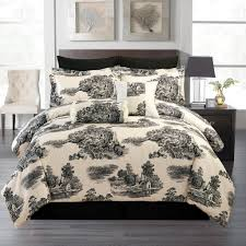 33 homey design french toile bedding sets black and white cream damask comforters budget wise 8 pce comforter set country