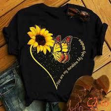 Zavita <b>Sunflower</b> T Shirts Women Fashion Hearts <b>Butterfly Printed</b> ...