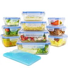 glass food storage containers set with airtight locking lids free ice pack