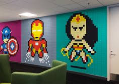 office workers install 8 bit superhero mural using 8 024 sticky notes