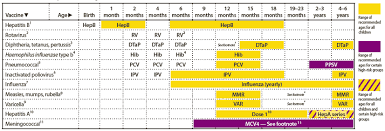 Age Chart For Shots Recommended Immunization Schedules For Persons Aged 0