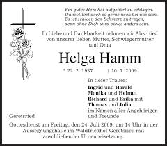 Traueranzeigen von Helga Hamm   trauer.merkur.de