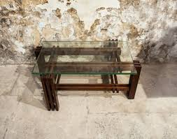 wooden base glass top italy 1950s