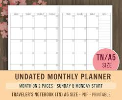 Monthly Calendar Notebook Tn A5 Monthly Planner Inserts Travelers Notebook Inserts