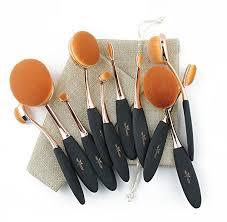 anmor makeup brushes set 10pcs professional oval toothbrush foundation powder contour concealer eyeliner blending brush super soft synthetic cosmectis
