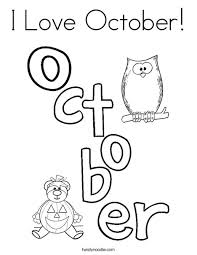 A monthly coloring competition from the coloring book club. I Love October Coloring Page Twisty Noodle