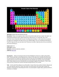 Webquest on periodic table and valence electrons