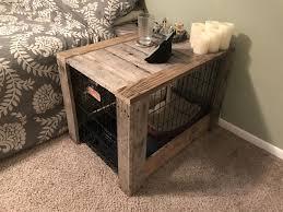 Pallet wood dog crate nightstand