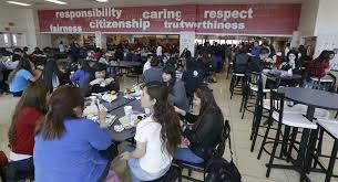 high school lunch table. Students Eat Their Lunch In The Cafeteria At Thomas Jefferson High School Dallas, Friday Table
