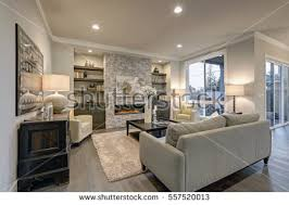 Living Room Interior Gray Brown Colors Stock Photo Royalty Free