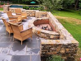 Appealing Design Of The Backyard Fire Pit Ideas With Brown Wooden Chairs  Added Grey Tile Rocks