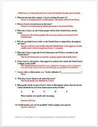Castro Documents Corroboration Chart Answers Fidel Castro S Cuban Missile Crisis Letter Cold War Primary Source Worksheet