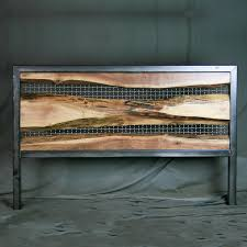 vintage industrial live edge walnut headboard