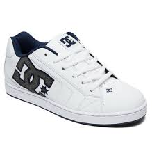 dc shoes mens trainers new net se white leather skate rubber sole shoes 9s 297 h