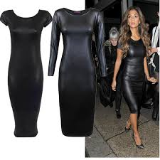 high quality women casual leather con dress bandage dress vestidos y black pu leather con dress cocktail dress brands cocktail dresses for party