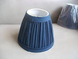 2 of 5 chandelier lamp shades clip on new navy blue pleated white inside shade