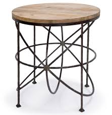 alchemy rustic industrial loft wood iron orbit round side table kathy kuo home