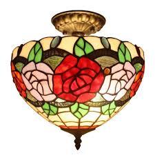 tiffany style pendant light. Tiffany Style 2-Light Roses Pendant Lamp 12 In. Wide Light