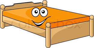 Comfortable cartoon bed with a colorful orange mattress with a happy