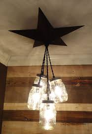 mason jar chandelier barn star country rustic primitive farm light 5 light