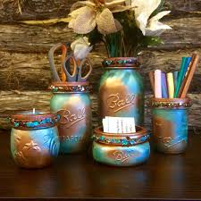 Mason Jar Bathroom Accessories Mason Jar Desk Set Copper And Turquoise Desk Set Rustic