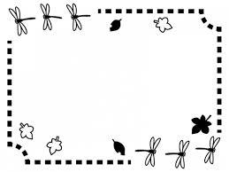 秋とんぼと落ち葉の白黒点線フレーム飾り枠イラスト 無料イラスト