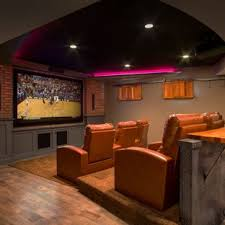 Basement movie theater House Houzz Lower Level Finish With Home Theatre And More