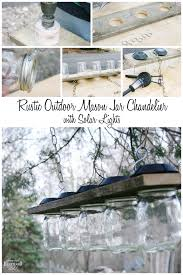 rustic outdoor mason jar chandelier with solar lights