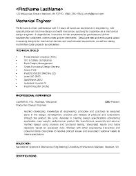 mechanical engineering resumes