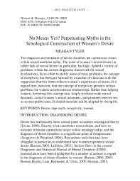 PDF) No Means Yes? Perpetuating Myths in the Sexological Construction of  Women's Desire   Meagan Tyler - Academia.edu