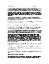 my news report on the an miners gcse english marked by page 1 zoom in