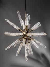 rock crystal and bronze starburst chandelier