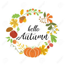 Hello Autumn Wreath Fall Elements Orange Pumpkin Maple Leaves