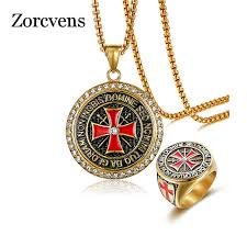zorcvens maltese cross jewelry sets for men gold color stainless steel necklace and ring religious jewelry