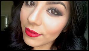 smokey holiday makeup tutorial gold and black smokey eye with red lips you