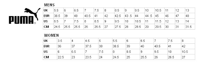 Puma Golf Size Chart Nike Kids Shoe Chart Images Online