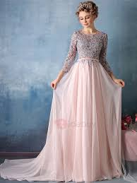 Exquisite A Line Scoop Appliques Court Train Evening Dress