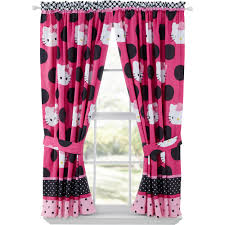 Pink Bedroom Curtains Hello Kitty Dotted In Pink Girls Bedroom Curtain Panels Set Of 2