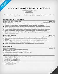 Phlebotomy Resume Examples 2016 Resume Template Info