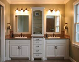 Master Bath Idea White Walls Cream Colored Counters And His And - Bathroom cabinet remodel